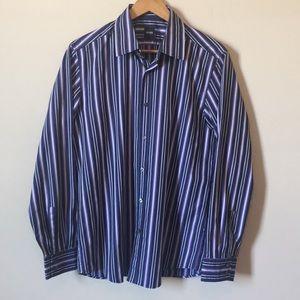 Hugo Boss | Men's Striped Button Up Dress Shirt L